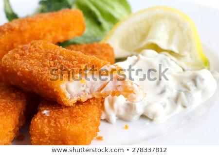 рыбы пальцы гарнир куриные обеда Салат Сток-фото © M-studio