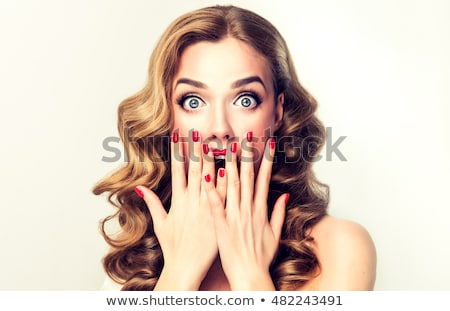 Stock photo: pinup woman pointing