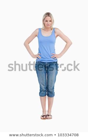 Glimlachend blonde vrouw handen heupen witte vrouw Stockfoto © wavebreak_media