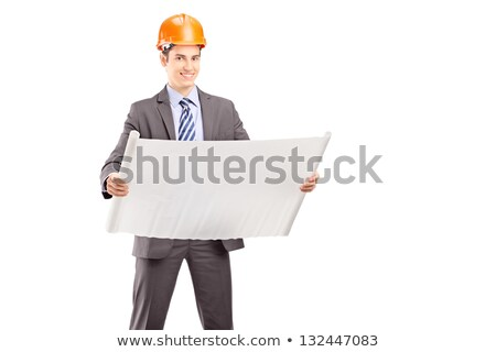 Happy foreman observing a blueprint Stock photo © photography33