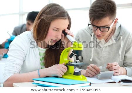 Középiskola diákok gyönyörű lány dolgozik biológia osztályterem Stock fotó © HASLOO