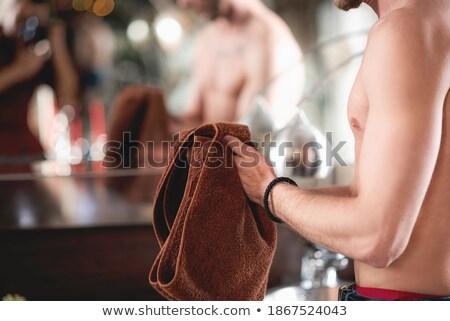 Nedves izmos férfi törölköző érzéki macsó Stock fotó © stockyimages