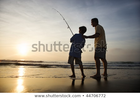 Wędka plaży połowów morza Błękitne niebo wody Zdjęcia stock © photocreo