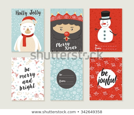 cute vintage christmas card with snowman stock photo © mcherevan