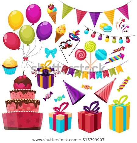 празднование дня рождения графических Элементы вечеринка зеленый свечу Сток-фото © kariiika