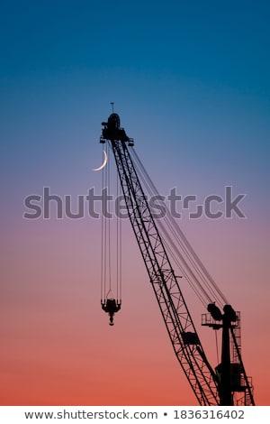 Guindaste pôr do sol construção praça quadro negócio Foto stock © ajn