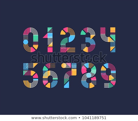 colorful and abstract icons for number 5 set 7 stock photo © cidepix