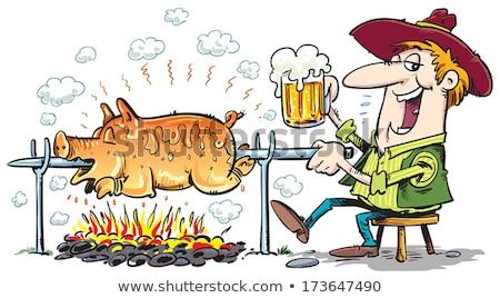 Varken spugen partij brand vlees Stockfoto © nuiiko