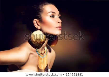 Beauty Fashion Woman Portrait. Jewelry accessories. Black and wh Stock photo © Victoria_Andreas