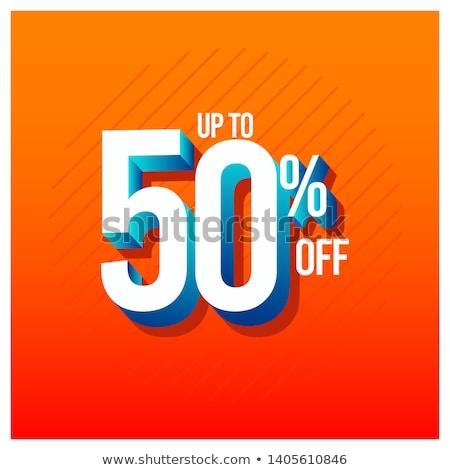 50 por ciento descuento azul icono blanco Foto stock © kbuntu