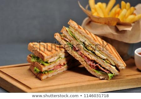 поджаренный · трехслойный · бутерброд · фри · продовольствие · клуба · сыра - Сток-фото © juniart