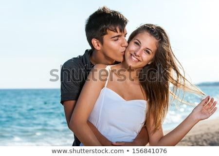 Portré tini pár tengerpart nap tenger Stock fotó © monkey_business