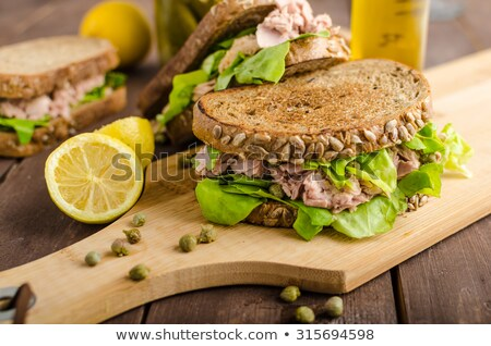Atum sanduíches prato estoque foto Foto stock © punsayaporn
