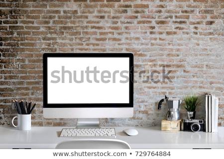 Tábla asztali számítógép iskola iskolatábla kréta írott Stock fotó © romvo