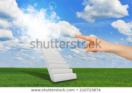 klatka · schodowa · nieba · schody · słońce · Błękitne · niebo · chmury - zdjęcia stock © cherezoff