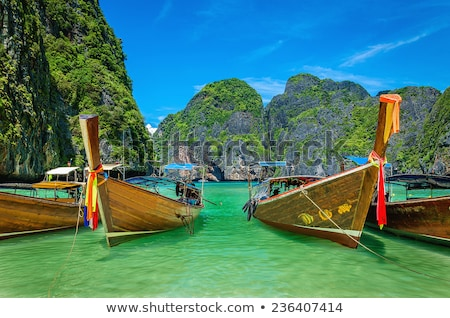 Wooden boat in Maya bay, Thailand. Stock photo © kasto