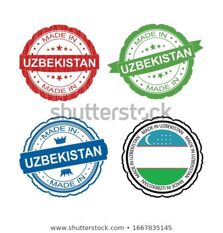 Üzbegisztán piros bélyeg felirat pecsét izolált Stock fotó © tashatuvango