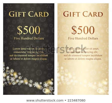 Stock photo: Exclusive black christmas gift card with stream of golden snowflakes
