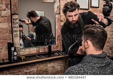 Férfi fodrász hajszárító fiatal pózol arc Stock fotó © feelphotoart