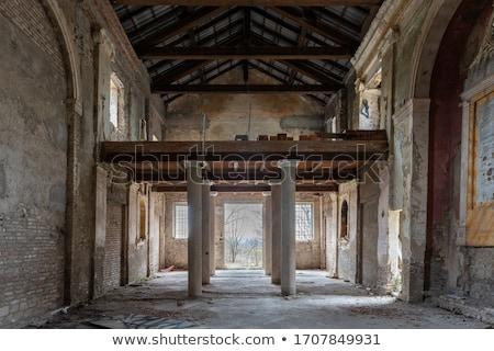 abandonné · endommagé · vieille · maison · bleu · nuageux · ciel - photo stock © witthaya
