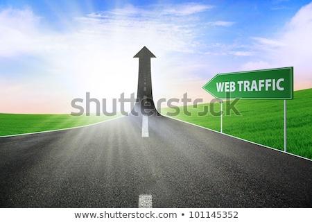 online · autópálya · útjelző · tábla · zöld · égbolt · út - stock fotó © tashatuvango