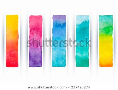 Stockfoto: Vector · ingesteld · regenboog · aquarel · banners · abstract