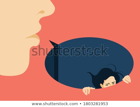 Stock photo: business woman violently facing a business man
