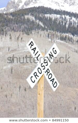ferrovia · trilho · estrada · assinar · isolado · azul - foto stock © phbcz