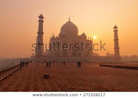 Taj · Mahal · matin · brouillard · vide · banc · caché - photo stock © zastavkin