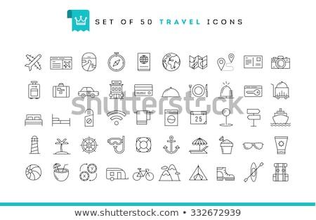 poggyász · ikonok · gyűjtemény · nap · szemüveg · kamera - stock fotó © vectorikart