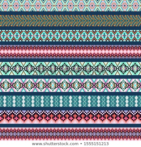 set of ornamental braid strips of colored geometric ornament Stock photo © yurkina
