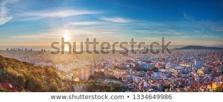 Zonsopgang Barcelona mooie Spanje gebouw stad Stockfoto © elxeneize