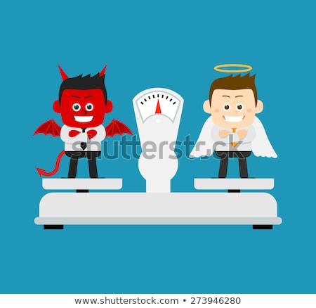 Jó gonosz mérleg kéz rajz jelző Stock fotó © ivelin