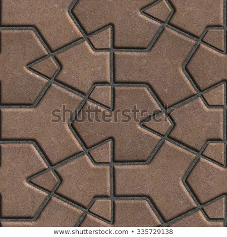 Brown Paving Slabs Built of Crossed Pieces a Various Shapes. Stock photo © tashatuvango