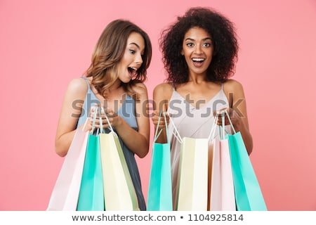 fiatal · nő · bevásárlószatyor · szeretet · üveg · vásárlás · csók - stock fotó © juniart