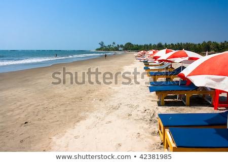 Plank bed strand Indië goa water Stockfoto © mcherevan