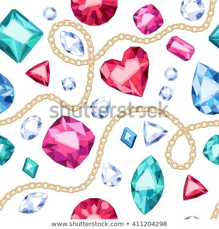 Stock fotó: Színes · drágakő · szívek · végtelen · minta · romantikus · ékszerek