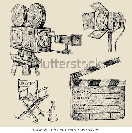 Black cinema clapper and hand draw icon Stock photo © netkov1