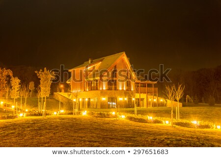 nice modern house during evening hours stock photo © elnur