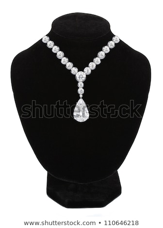 diamond necklace on black mannequin isolated on white background stock photo © tetkoren