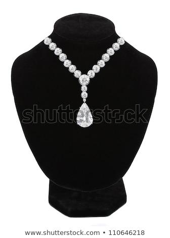 Diamantes collar negro maniquí aislado blanco Foto stock © tetkoren