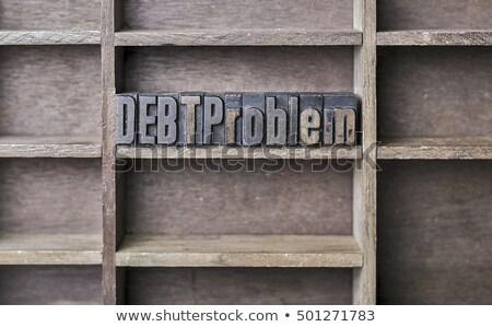 antique letterpress wood type printing blocks   money stock photo © zerbor