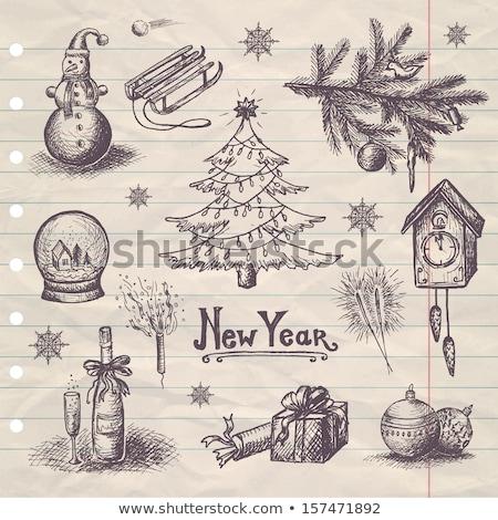 Сток-фото: рисованной · Рождества · Новый · год · Элементы · снега · мира