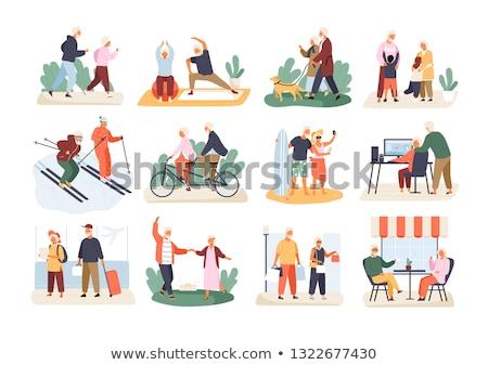 Old couple grandparents happy flat illustration stock photo © cienpies