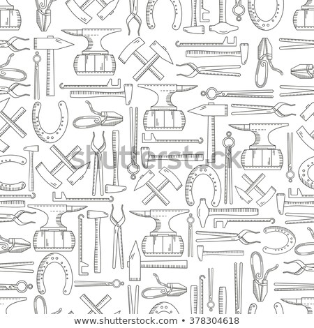 seamless pattern with objects on blacksmith theme stock photo © netkov1