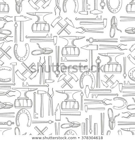Végtelen minta tárgyak kovács patkó sütő munka Stock fotó © netkov1