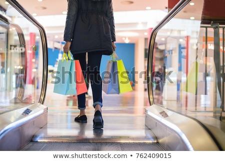 Roltrap winkelen centrum architectuur staal vervoer Stockfoto © Paha_L
