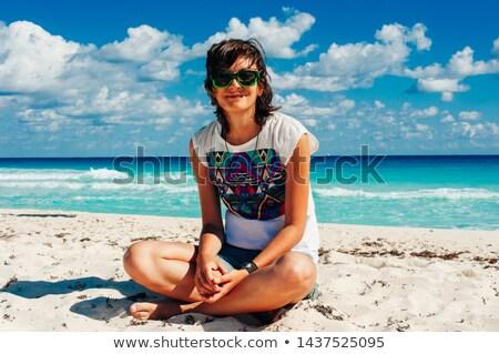 сидят · пляж · Lotus · положение · женщину - Сток-фото © artfotoss