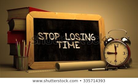 Stoppen Zeit handschriftlich Tafel gelb Business Stock foto © tashatuvango