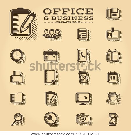 Business and Startup engraved icons set Stock photo © ConceptCafe